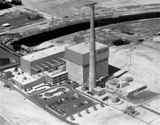"This July 12, 1972 file picture shows the Oyster Creek nuclear power plant in Lacey Township, N.J. Called ""Oyster Creak"" by some critics because of its aging problems, this boiling water reactor began running in 1969. (AP)"