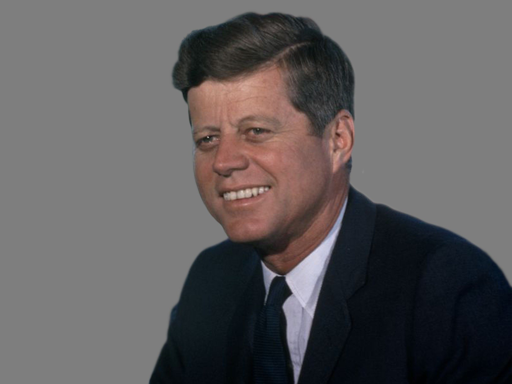 John F. Kennedy headshot, as 35th US President, official White House portrait via JFK Presidential Library and Museum