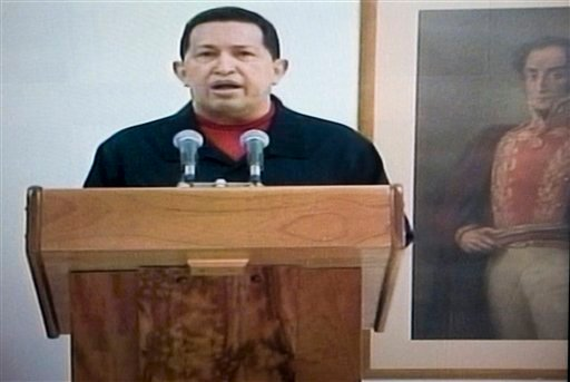 In this frame grab taken from Venezolana de Television, VTV, Venezuela's President Hugo Chavez delivers a televised speech aired from Cuba, Thursday, June 30, 2011.