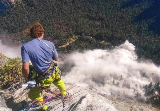 In this photo provided by Peter Zabrok, climber Ryan Sheridan who had just reached the top of El Capitan.
