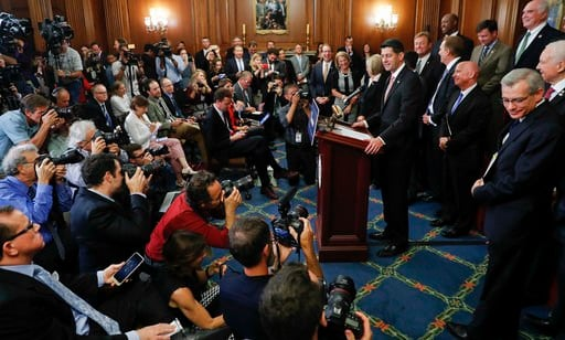 President Donald Trump and congressional Republicans are writing a far-reaching, $5-trillion plan they say would simplify the tax system and nearly double the standard deduction used by most Americans. (AP Photo/Pablo Martinez Monsivais)