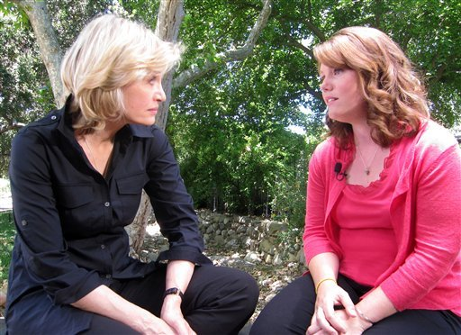 In this July 1, 2011 photo released by ABC, ABC News' Diane Sawyer, left, speaks with Jaycee Dugard in Ojai, Calif., during her first interview since being kidnapped near her California home in 1991, when she was 11.