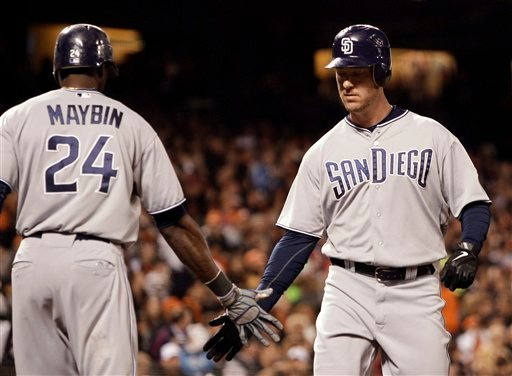 San Diego Padres' Ryan Ludwick, right, is congratulated by Cameron Maybin (24) after Ludwick hit a home run off San Francisco Giants' Barry Zito during the seventh inning of a baseball game Thursday, July 7, 2011, in San Francisco. (AP Photo/Ben Margot)