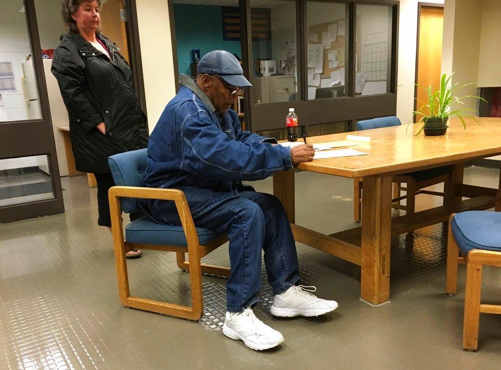 Simpson was released from the Lovelock Correctional Center in northern Nevada early Sunday, Oct. 1, 2017. (Brooke Keast/Nevada Department of Corrections via AP)