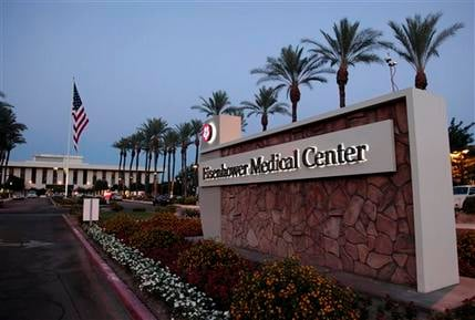 The entrance driveway to the Eisenhower Medical Center where former First Lady Betty Ford died in Rancho Mirage, Calif., on Friday, July 8, 2011.(AP Photo/Francis Specker)