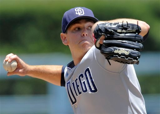 San Diego Padres' Tim Stauffer pitches during the first inning of a baseball game against the Los Angeles Dodgers, Sunday, July 10, 2011, in Los Angeles. (AP Photo/Gus Ruelas)