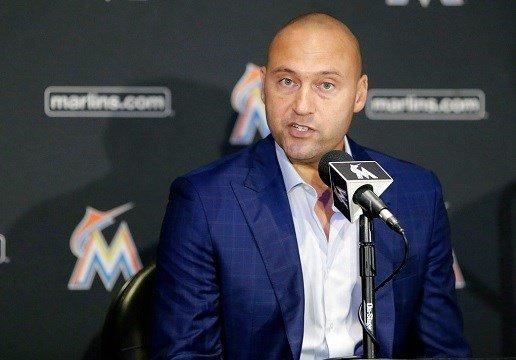 Miami Marlins owner Derek Jeter talks to reporters during a news conference, Tuesday, Oct. 3, 2017.