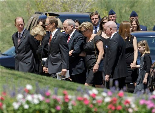 Members of the Ford family arrive for the funeral of former first lady Betty Ford, Tuesday, July 12, 2011, at St. Margaret's Episcopal Church in Palm Desert, Calif.