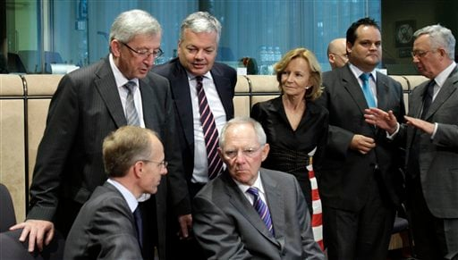 From left, Luxembourg's Finance Minister Jean-Claude Juncker, Luxembourg's Economy Minister Luc Frieden, Belgian Finance Minister Didier Reynders, German Finance Minister Wolfgang Schaeuble, Spanish Finance Minister Elena Salgado, Dutch Finance Minister