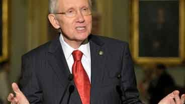 Senate Majority Leader Harry Reid of Nev. gestures during a news conference on Capitol Hill in Washington, Tuesday, July 12, 2011. (AP Photo/Susan Walsh)