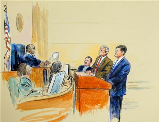 This artist rendering shows, from left, Judge Reggie Walton, Roger Clemens, his attorney Rusty Hardin, and prosecutor Steve Durham in federal court in Washington, Tuesday, July 5, 2011, during Clemens' perjury trial. (AP Photo/Dana Verkouteren)