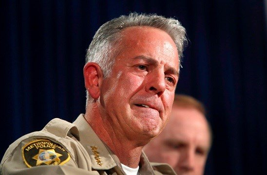 Clark County Sheriff Joe Lombardo listens to a question during a media briefing at Metro Police headquarters in Las Vegas.