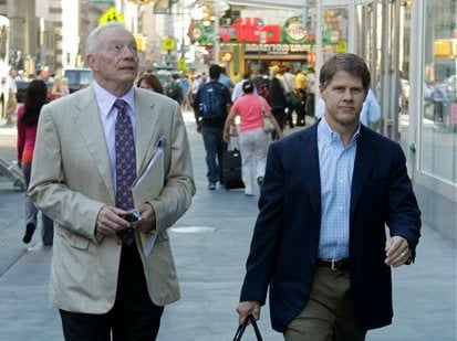 Dallas Cowboys owner Jerry Jones, left, and Kansas City Chiefs owner Clark Hunt arrives at a Manhattan law firm Thursday, July 14, 2011 in New York. (AP)