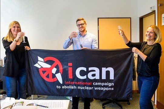Beatrice Fihn, left, Executive Director of the International Campaign to Abolish Nuclear Weapons (ICAN), Daniel Hogsta, center, coordinator nd Grethe Ostern, right.