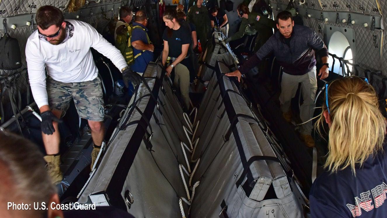 US Coast Guard plane transported four Navy dolphins to San Felipe on Thursday