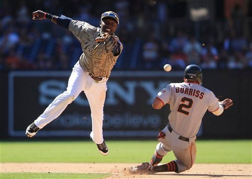 Giants' Emmanuel Burriss steals second as Padres second baseman Orlando Hudson reaches for a wild throw that allowed Burriss to advance to third in the 11th inning of a baseball game July 17, 2011, in San Diego. (AP Photo/Lenny Ignelzi)