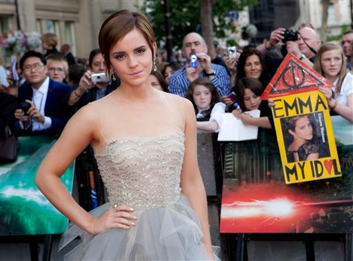 "British actress Emma Watson arrives in Trafalgar Square, in central London, for the World Premiere of ""Harry Potter and the Deathly Hallows: Part 2"" the last film in the series, Thursday, July 7, 2011."