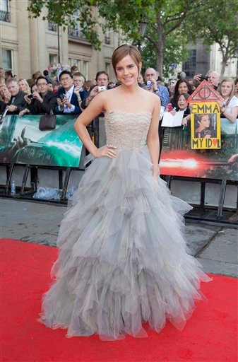 British actress Emma Watson arrives in Trafalgar Square, central London, for the world premiere of Harry Potter and The Deathly Hallows: Part 2, the last film in the series, Thursday, July 7, 2011. (AP Photo/Joel Ryan)