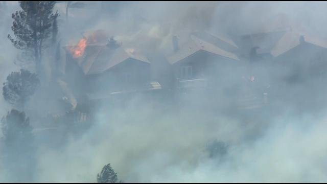 Wind-driven brush fire threatens homes in Anaheim Hills