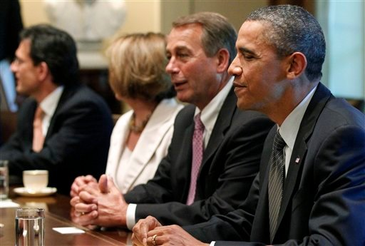 July 14, 2011 file photo:President Obama sits with House Speaker John Boehner of Ohio, House Minority Leader Nancy Pelosi of California, House Majority Leader Eric Cantor of Virginia, during a meeting regarding the debt ceiling.(AP Photo/Charles Dharapak)