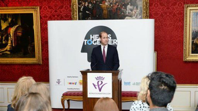 The Duke of Cambridge speaks at a reception on World Mental Health Day at St James's Palace, London, to celebrate the impact of the Heads Together Charity. (Press Association via AP Images)