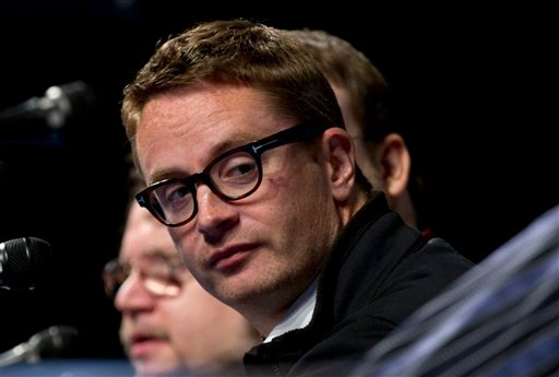 Director Nicolas Winding Refn looks over during the Film District panel at Comic Con Thursday, July 21, 2011, in San Diego. (AP Photo/Gregory Bull)
