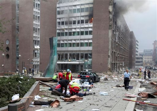 The scene after an explosion in Oslo, Norway, Friday July 22, 2011.