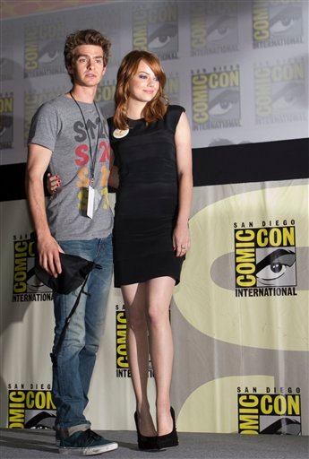 "Actors Andrew Garfield and Emma Stone pose during the Sony panel presentation of the movie, ""The Amazing Spider-Man,"" at Comic Con Friday, July 22, 2011, in San Diego. Garfield plays spider-man in the upcoming movie. (AP Photo/Gregory Bull)"