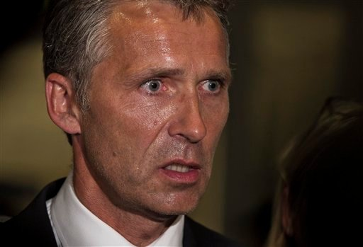 Norwegian Prime Minister Jens Stoltenberg speaks to the media at the Ulleval University hospital in Olso, Norway Saturday July 23, 2011. A Norwegian dressed as a police officer gunned down at least 84 people at an island retreat, police said Saturday. (AP