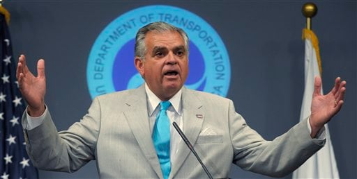 Transportation Secretary Ray LaHood talks about the possible shutdown of the FAA during a news conference in Washington, Thursday, July 21, 2011. (AP Photo/Susan Walsh)
