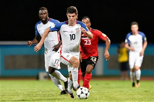 United States' Christian Pulisic (10) during first half of a FIFA World Cup qualifying soccer match. Tuesday, October 10, 2017 in Port of Spain, Trinidad. Trinidad and Tobago won 2-1.