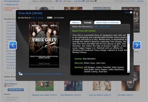 "In this screen shot provided by Wal-Mart Stores Inc., the film ""True Grit"" is shown as one of the titles available on the company's new video-streaming service. (AP)"