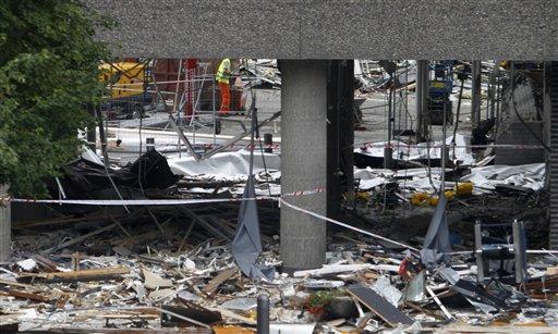 Debris is seen in Oslo Wednesday, July 27, 2011. (AP Photo/Ferdinand Ostrop)