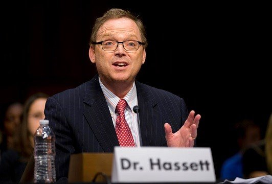 Kevin Hassett, senior fellow and director of Economic Policy at the American Enterprise Institute (AEI), gestures as he testifies on Capitol Hill.