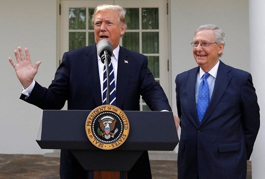 President Donald Trump answers questions with Senate Majority Leader Mitch McConnell, R-Ky., in the Rose Garden.