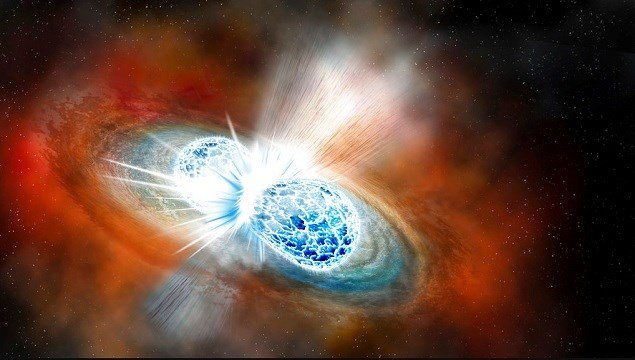 This illustration provided by the Carnegie Institution for Science depicts the collision of two neutron stars detected on Aug. 17, 2017.