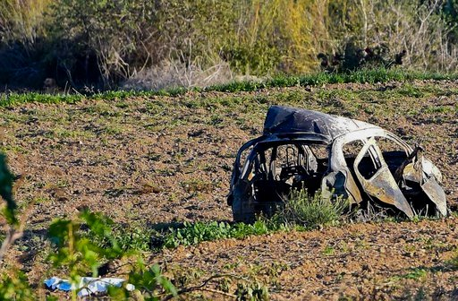Prime Minister Joseph Muscat said the bomb that killed reporter Daphne Caruana Galizia exploded Monday afternoon as she left her home in a town outside Malta's capital, Valetta. (AP Photo/Rene Rossignaud)