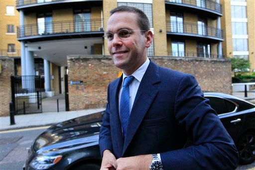 Chief executive of News Corporation Europe and Asia, James Murdoch arrives at News International headquarters in London, Tuesday, July 19, 2011. (AP)