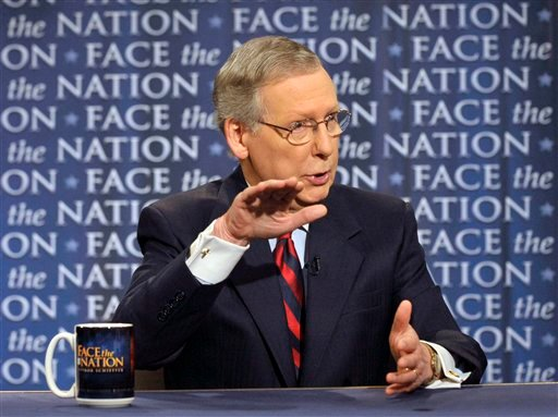 """In this photo released by CBS News, Republican Senate Minority Leader Mitch McConnell, R-Ky., a key debt crisis negotiator, talks on CBS's """"Face the Nation"""" in Washington, Sunday, July 31, 2011. (AP)"""