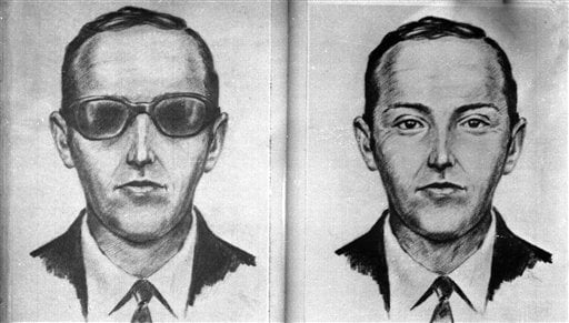 FILE--A 1971 artist's sketch released by the FBI shows the skyjacker known as 'Dan Cooper' and 'D.B. Cooper', was made from the recollections of passengers and crew of a Northwest Orient Airlines jet he hijacked between Portland and Seattle, Nov. 24, 1971