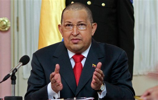 In this photo provided by Miraflores Presidential Press Office, Venezuela's President Hugo Chavez speaks during the swearing in ceremony of two new ministers: Culture and Youth in Caracas, Venezuela, Monday, Aug. 1, 2011.