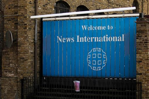 A sign stands outside offices of News International in London, Friday, July 22, 2011. (AP)