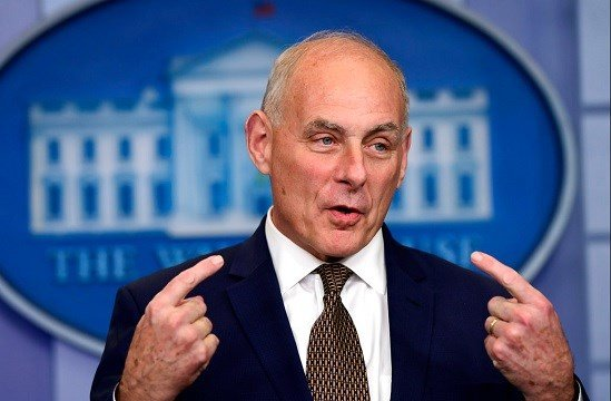 White House Chief of Staff John Kelly speaks during the daily press briefing at the White House in Washington.