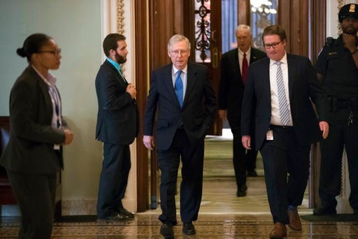 Senate Majority Leader Mitch McConnell, R-Ky., walks from the chamber to his office during a long series of votes at the Capitol in Washington, Thursday, Oct. 19, 2017. (AP Photo/J. Scott Applewhite)