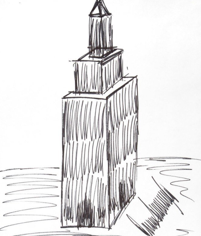 Julien's Auctions shows a sketch of the Empire State Building drawn by President Donald Trump.