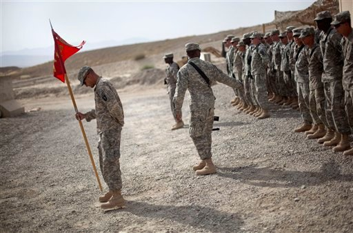 Soldiers with the U.S. Army's 4th Brigade Combat Team, 101st Airborne Division out of Fort Campbell, Ky., line up following a transfer of authority ceremony Friday, Aug. 5, 2011 at Forward Operating Base Sharana in Paktika province, Afghanistan.