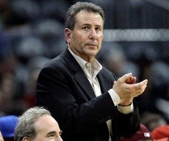 In this Dec. 22, 2010 file photo, Atlanta Hawks owners Michael Gearon Jr., left, and Bruce Levenson attend an NBA basketball game between the Hawks and the Cleveland Cavaliers in Atlanta. (AP)