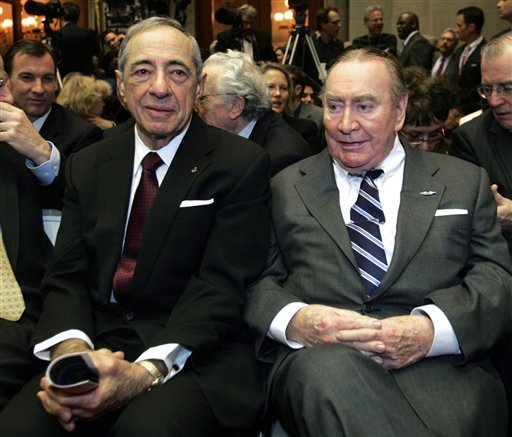 In this Jan. 7, 2009 photo, former New York Govs. Mario Cuomo, left, and Hugh Carey are seen at the Capitol in Albany, N.Y. (AP)