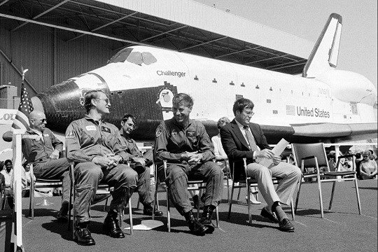 From left: Dr. Story Musgrave, pilot Karol J. Bobko, mission specialist Donald H. Peterson and commander Paul J. Weitz.