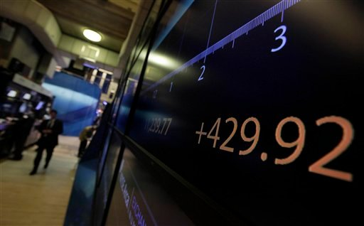 A board on the floor of the New York Stock Exchange shows the Dow Jones Industrial average at the close of trading, Tuesday, Aug. 9, 2011. (AP Photo/Richard Drew)
